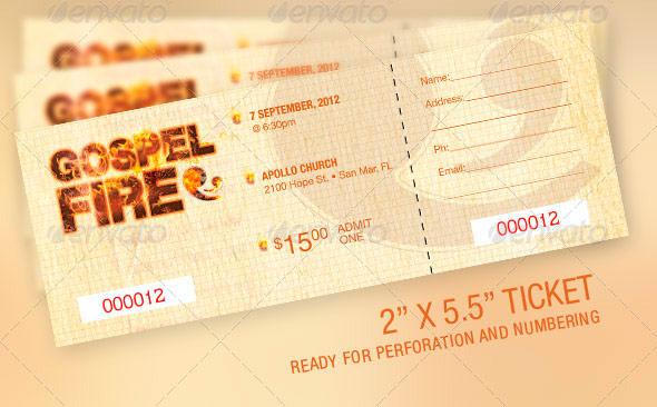 Gospel Fire Church Flyer, Ticket and CD Template
