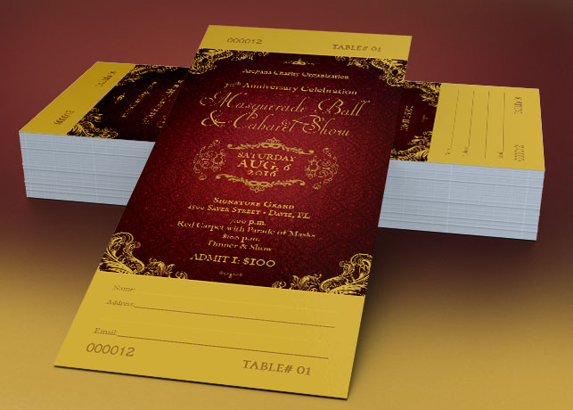 Masquerade Ball Ticket Photoshop Template | GraphicMule