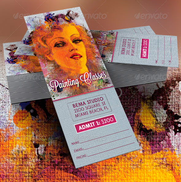 Painting Classes Flyer, DVD and Ticket Template