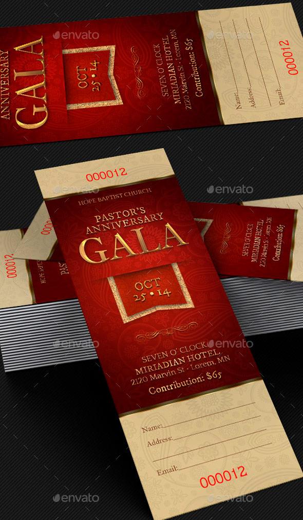Pastor Anniversary Gala Ticket Template