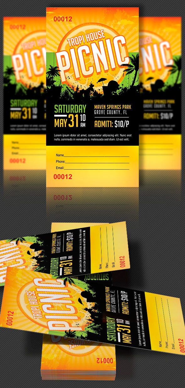 Tropical Picnic Ticket Template