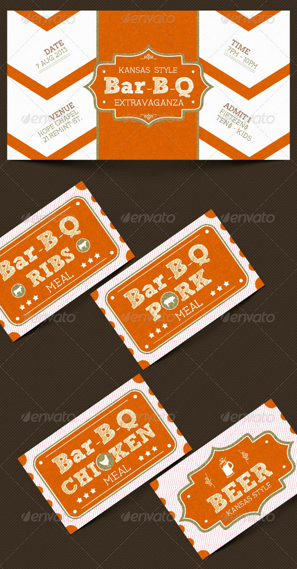 Vintage Bar-B-Que Ticket Template Set