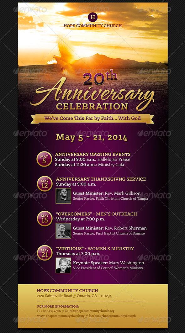 Church Anniversary Events Rack Card Template