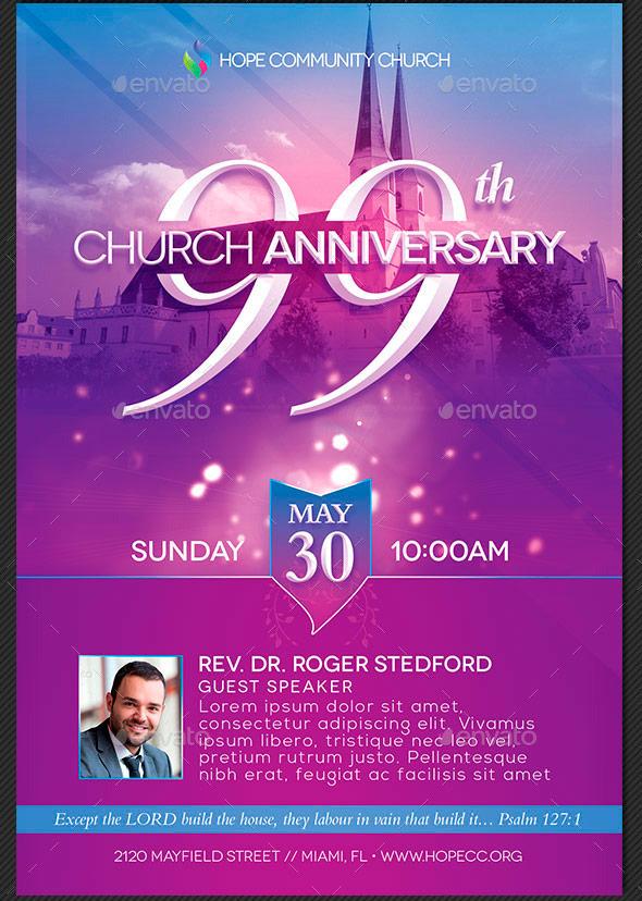 Church Anniversary Events Rack Card Template | Godserv