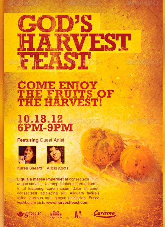 gods harvest feast church flyer template