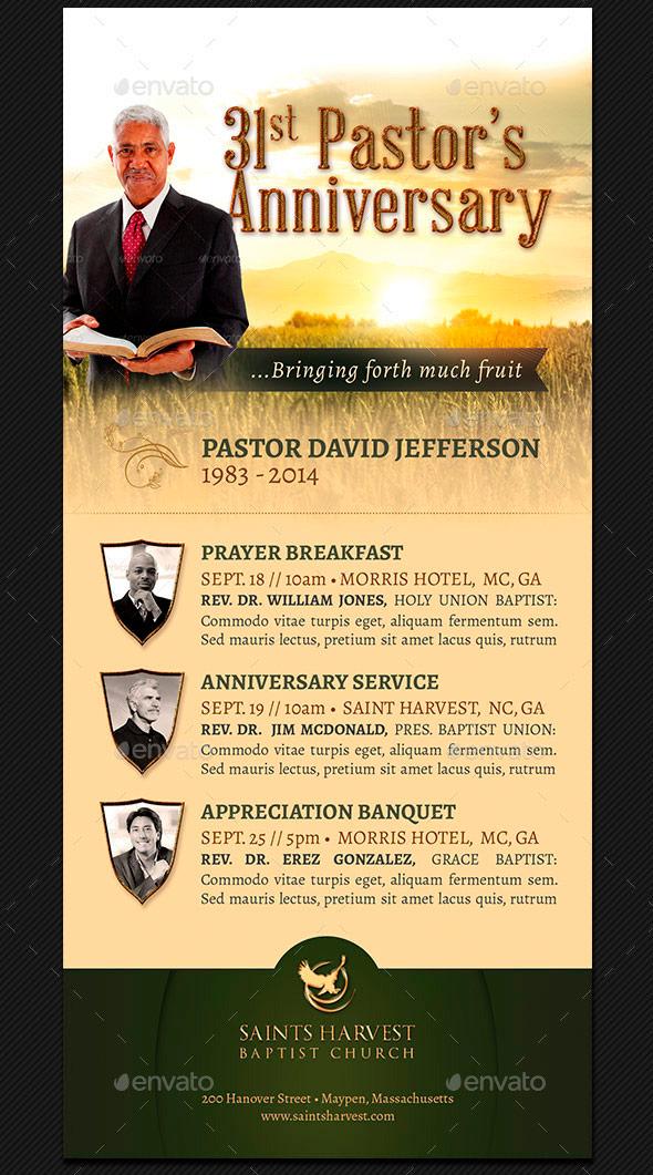 Pastor Anniversary Rack Card Template Harvest