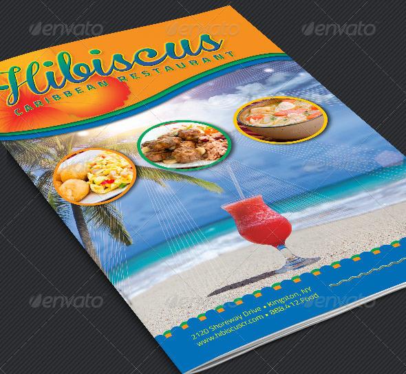 caribbean restaurant bi fold menu template graphicmule