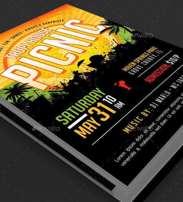 Tropical Picnic Flyer Template | GraphicMule