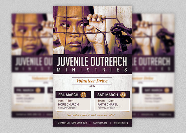 juvenile outreach church flyer template