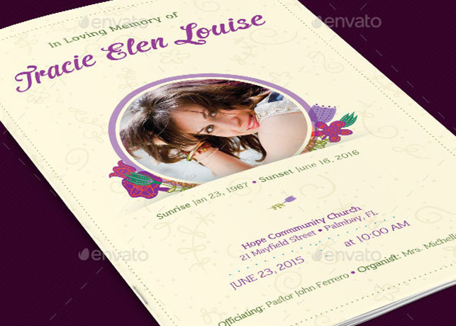 Floral Glory Funeral Program Template