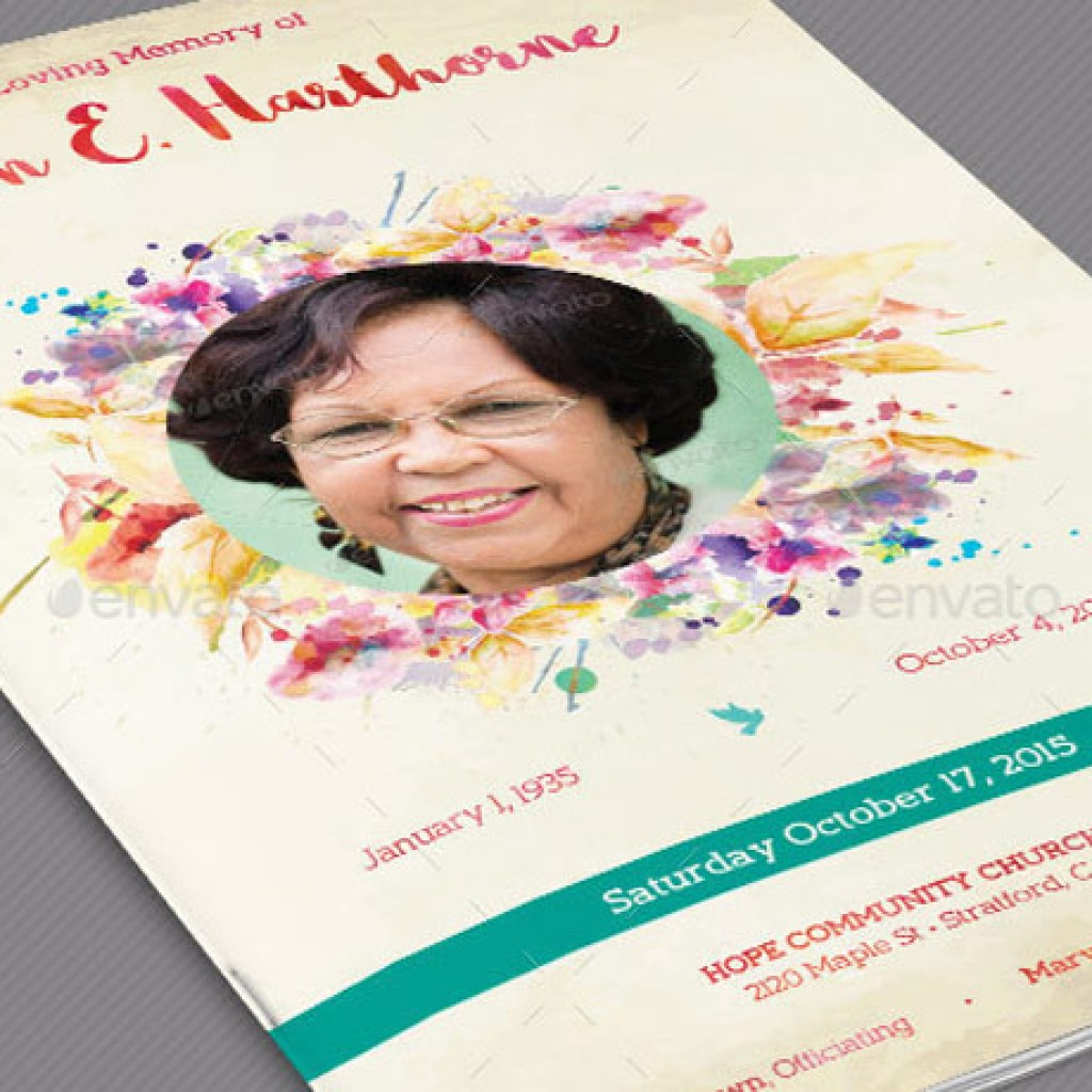 Watercolor Funeral Program Template Set