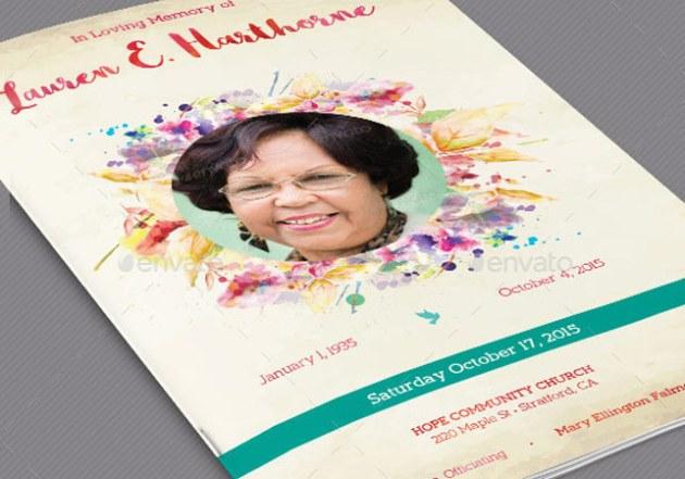 Watercolor Funeral Program Template Set
