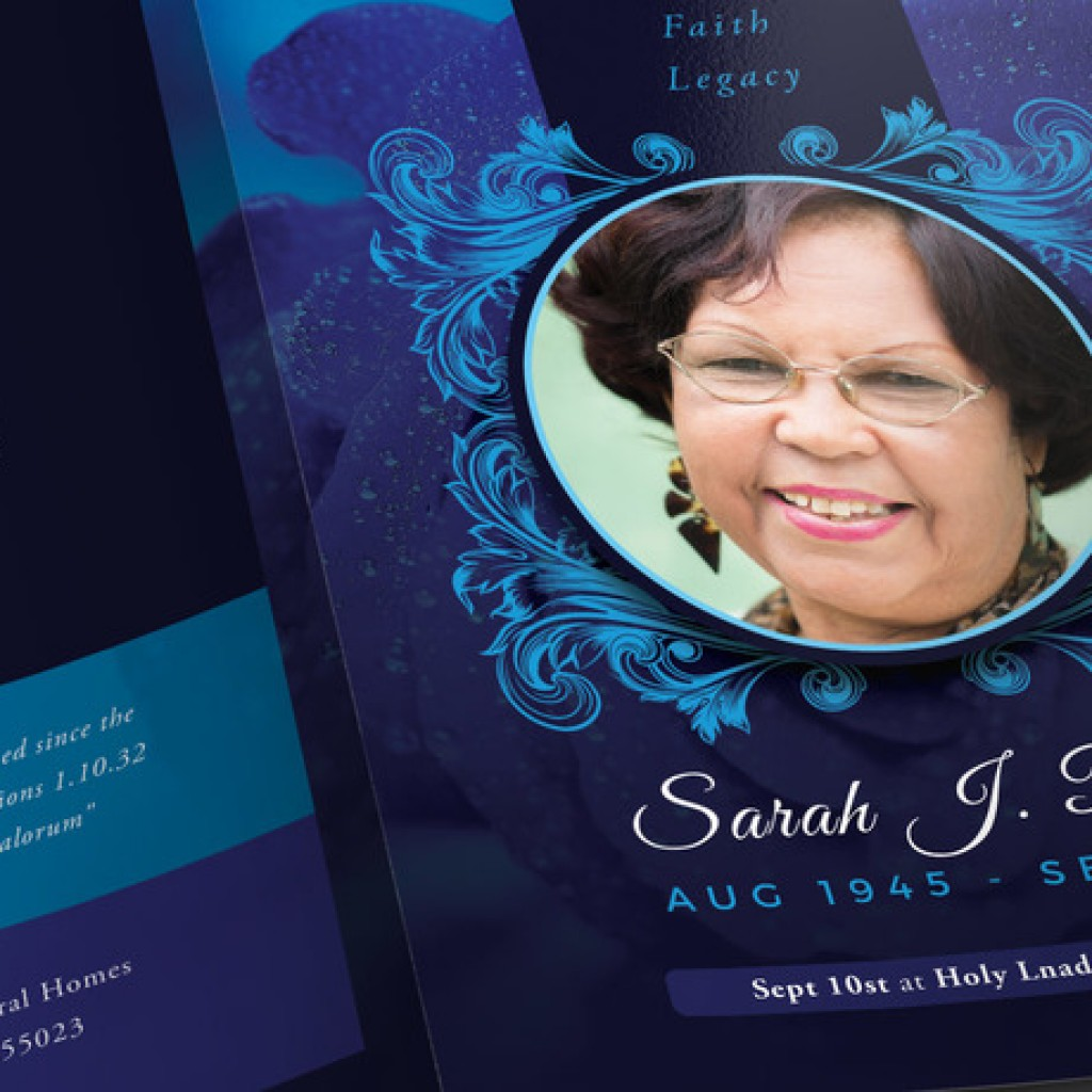 Blue Rose Funeral Program Photoshop Obituary Templates