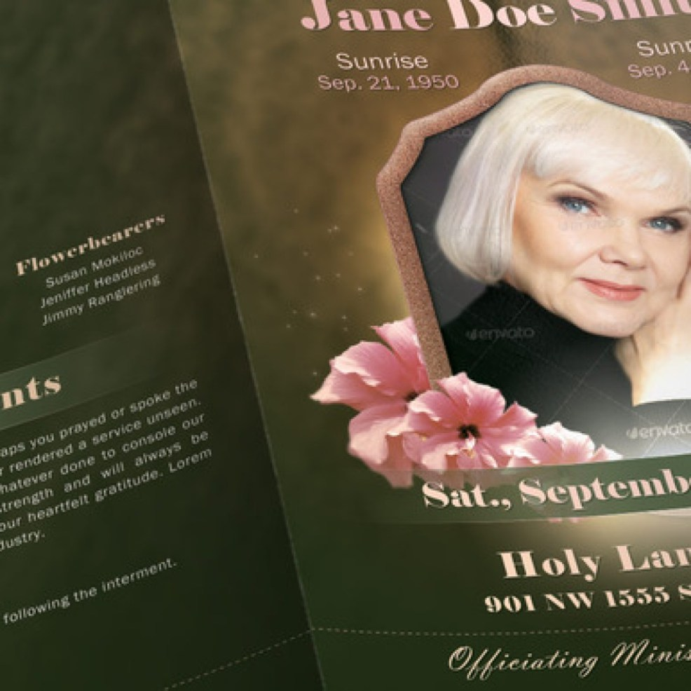 Obituary Templates Photoshop and Publisher – Funeral Poster Templates