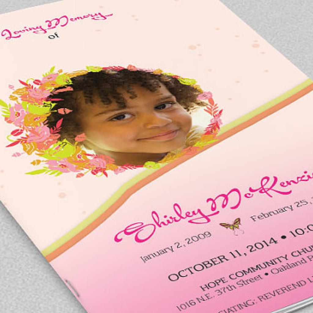 Pink Floral Funeral Program Template