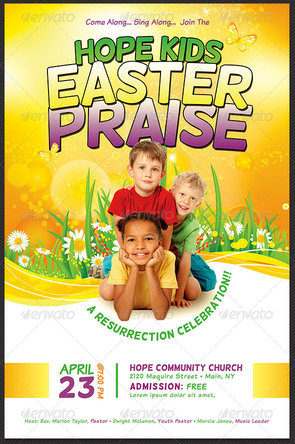 Kids Easter Praise Church Flyer Template