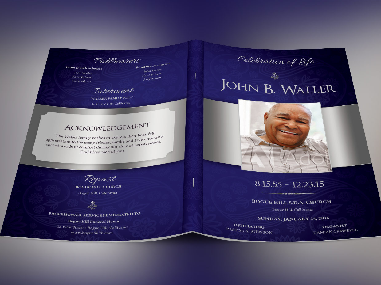 Blue Dignity Funeral Program Template