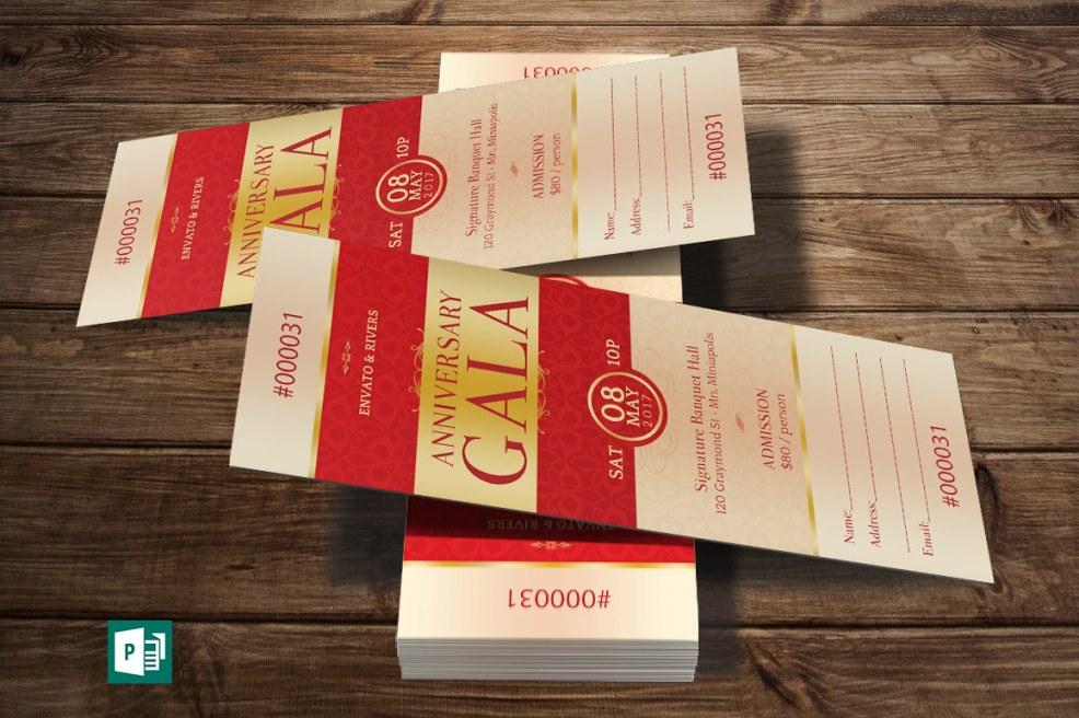 Elegant Anniversary Gala Ticket Publisher Template