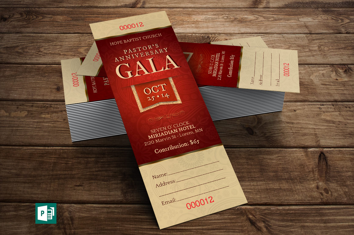 Pastor Appreciation Gala Ticket Publisher Template Is Customized For Church  Banquets, Galas And Other Fund Raising Events. Great For Pastor  Anniversary, ...  Banquet Ticket Template