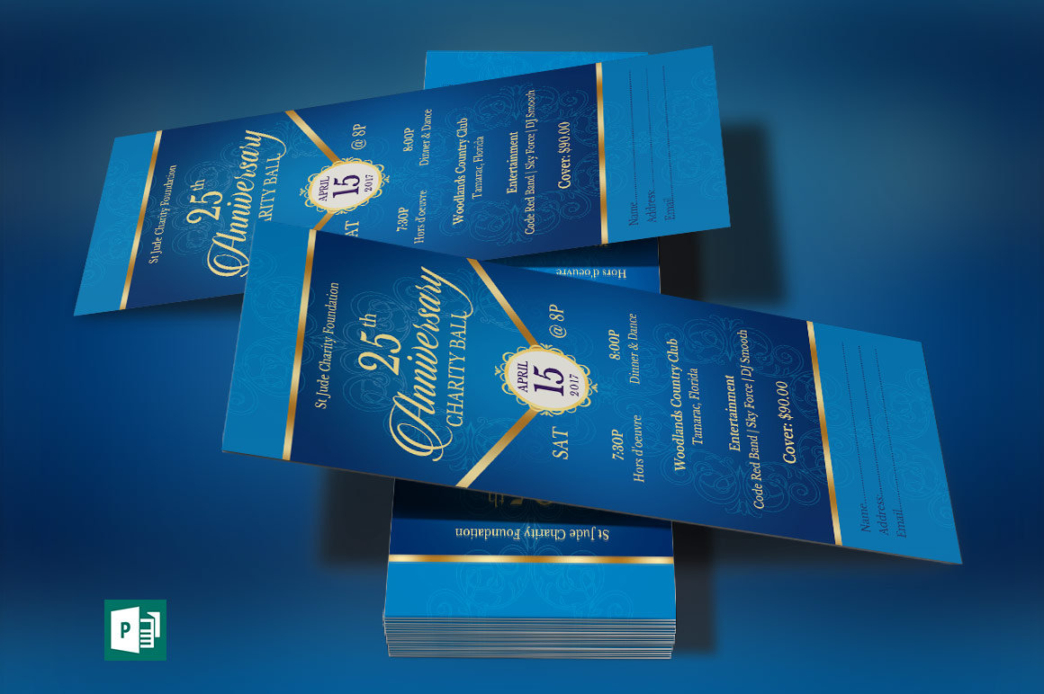 Blue Anniversary Banquet Ticket Publisher Template