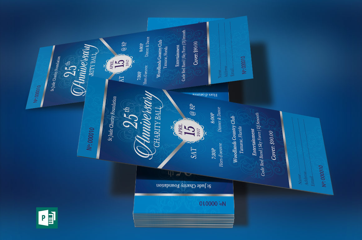 Blue Silver Anniversary Banquet Ticket Publisher Template
