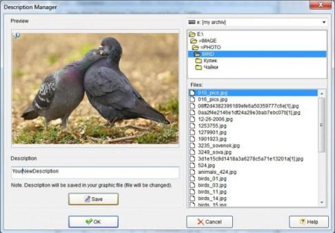 photo slide show description manager