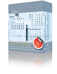 2011 Calendar Photoshop brushes set (3x12 - 36, US version) + 36 PNGs