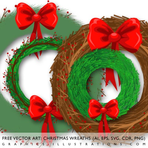 Free Vector Art - Christmas Wreaths, illustration