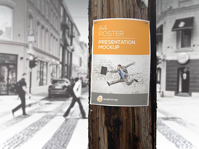 utility pole flyer poster mockup