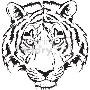 Tiger Head Black And White Illustration Clipart Commercial Use Gif Jpg Png Eps Svg Ai Pdf Clipart 398017 Graphics Factory