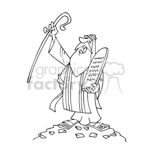 Moses Bw Cartoon Caricature Clipart Royalty Free Clipart