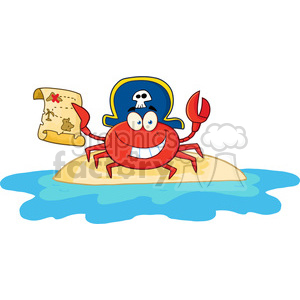 Pirate Crab Holding A Treasure Map On Island Cartoon