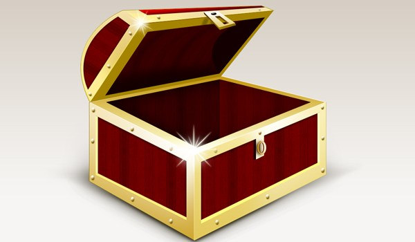 Treasure box graphic and icons download (.PSD)