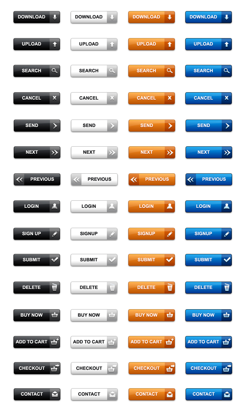 Download web buttons in PSD & PNG (pack of 60) - GraphicsFuel