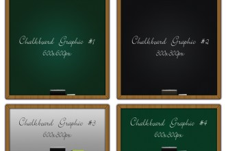 4 chalkboard graphics PSD & PNG files