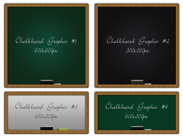 todays psd download is a set of 4 chalkboard graphics these graphics come in fully layered psd file with each graphic in a separate named folder