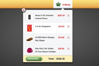 Shopping cart popup interface (PSD)