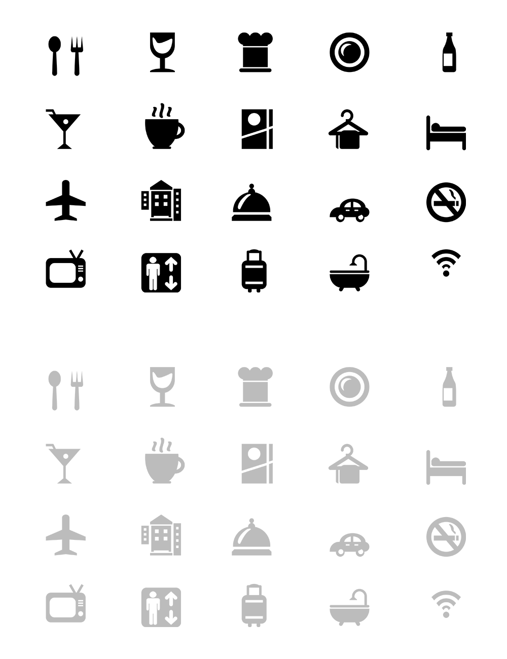 20 Hotel & Restaurant Icons