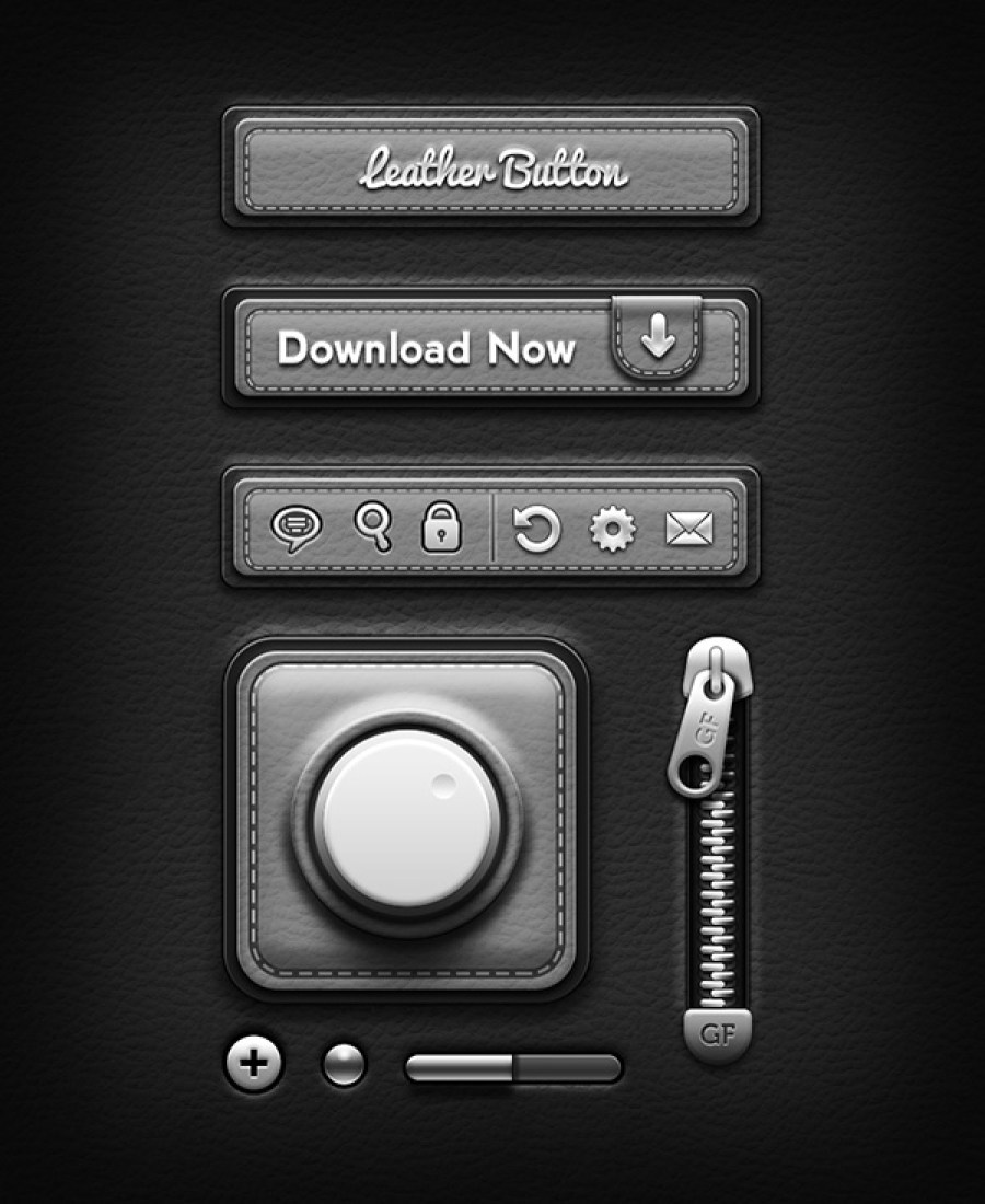 leather-ui-elements-bw