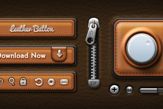 Leather UI Elements PSD