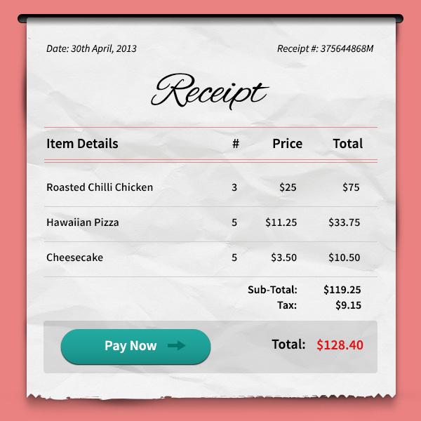 receipt size