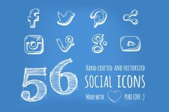 56 Free Hand-drawn Social Media Icons