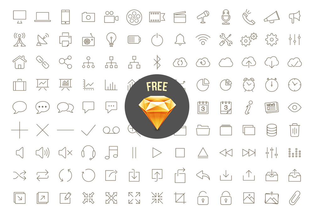 200-free-outline-icons-sketch