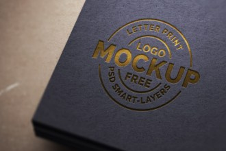 Paper Letterpress Logo Mockup PSD