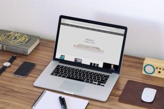 Free Macbook Workspace Mockup