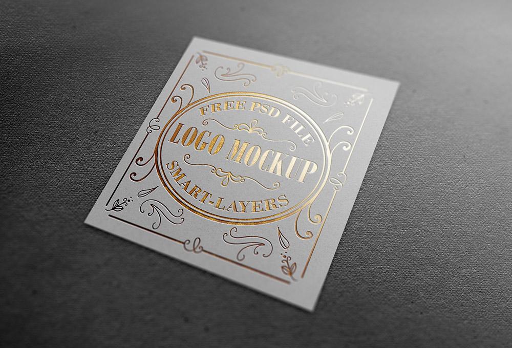 gold silver foil logo mockup psd