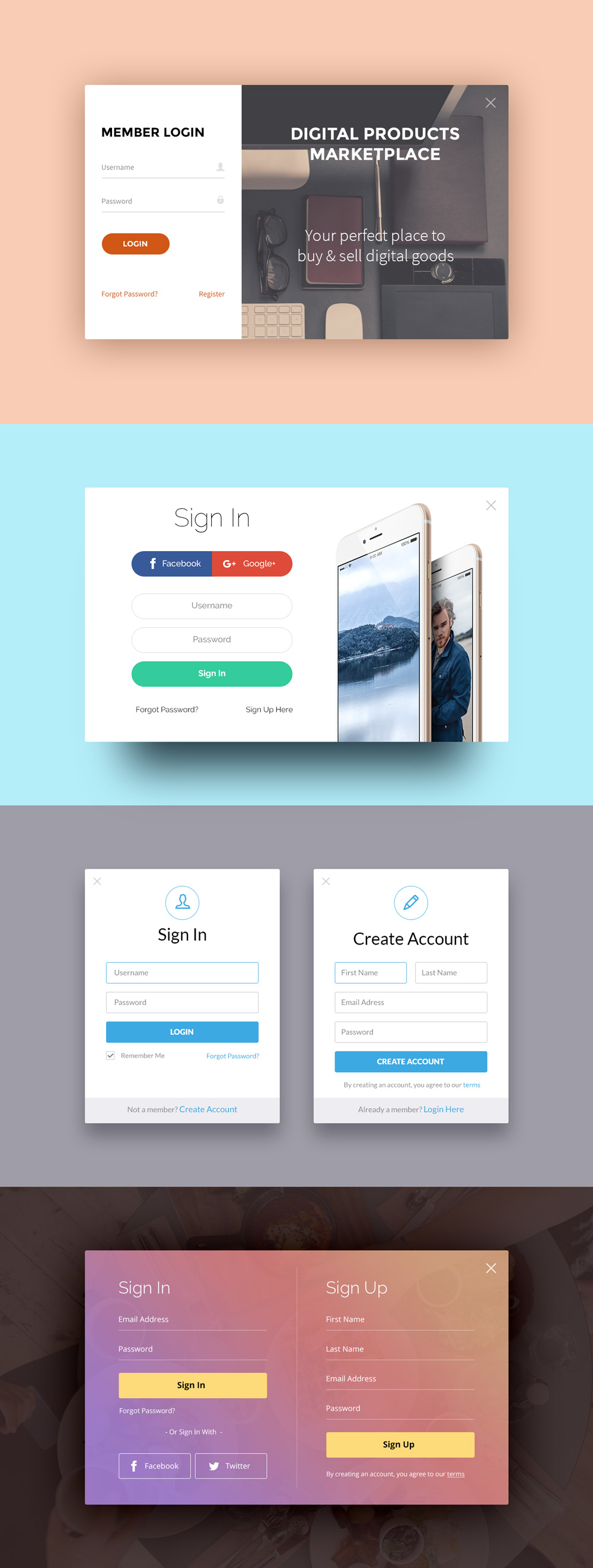 Sign Up & Login Forms PSD
