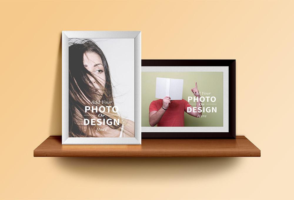 Free Photo Frames & Shelf Mockup