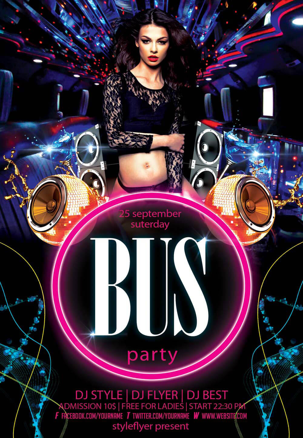 Party Bus PSD Flyer Template