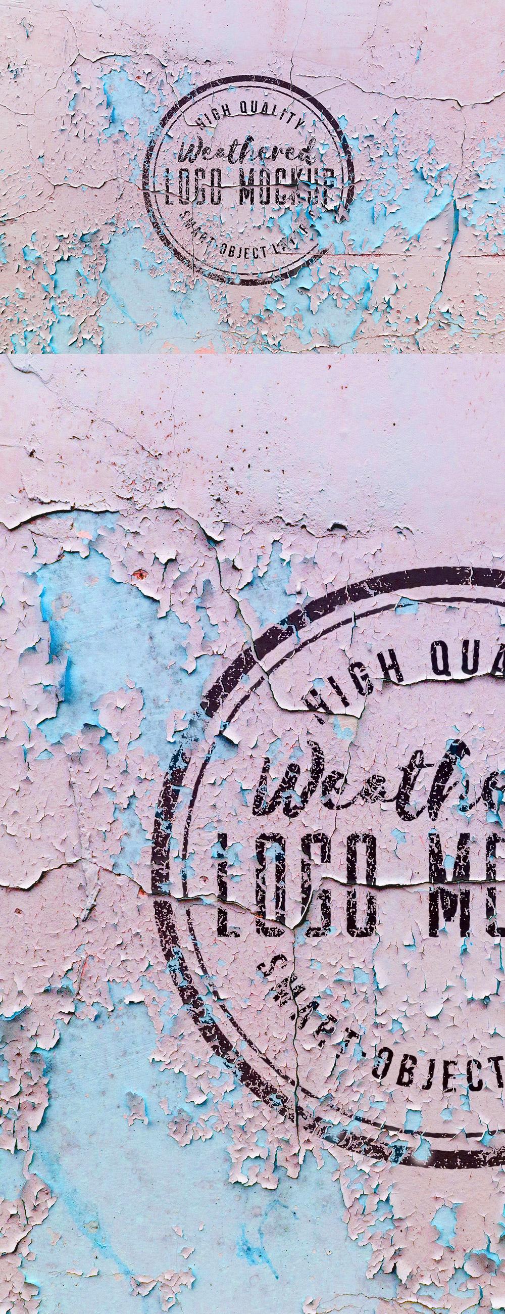 Weathered Logo Mockup PSD
